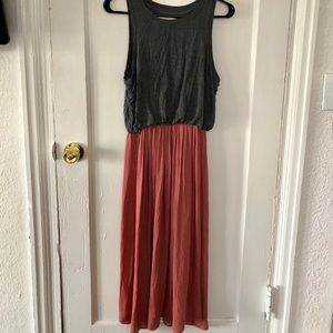 LOFT Rose and Grey Midi Dress